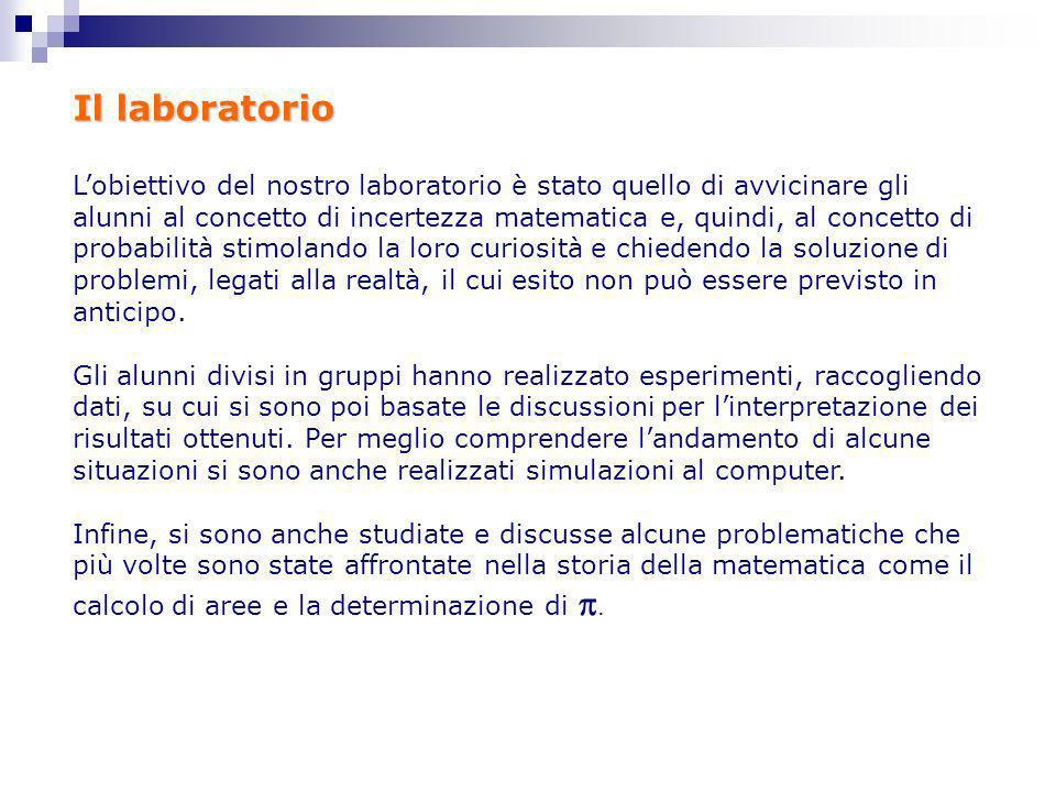 Il laboratorio Lobiettivo del nostro laboratorio è stato quello di avvicinare gli alunni al concetto di incertezza matematica e, quindi, al concetto d