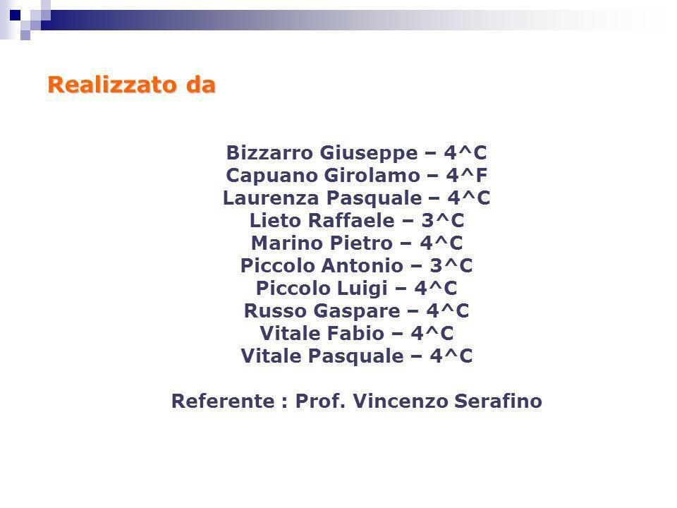 Realizzato da Bizzarro Giuseppe – 4^C Capuano Girolamo – 4^F Laurenza Pasquale – 4^C Lieto Raffaele – 3^C Marino Pietro – 4^C Piccolo Antonio – 3^C Pi