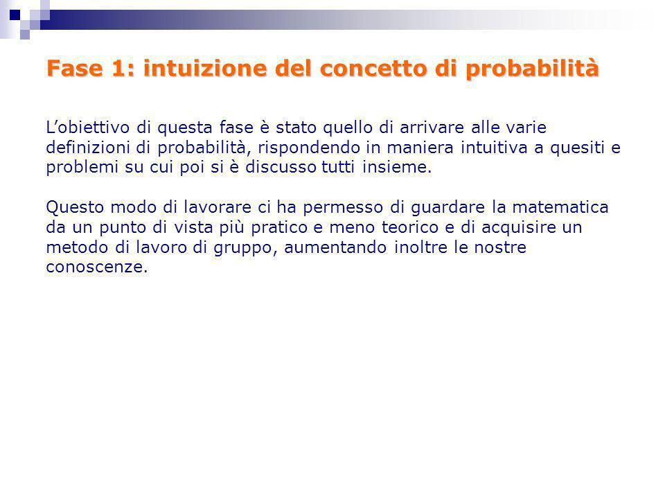 Fase 1: intuizione del concetto di probabilità Lobiettivo di questa fase è stato quello di arrivare alle varie definizioni di probabilità, rispondendo