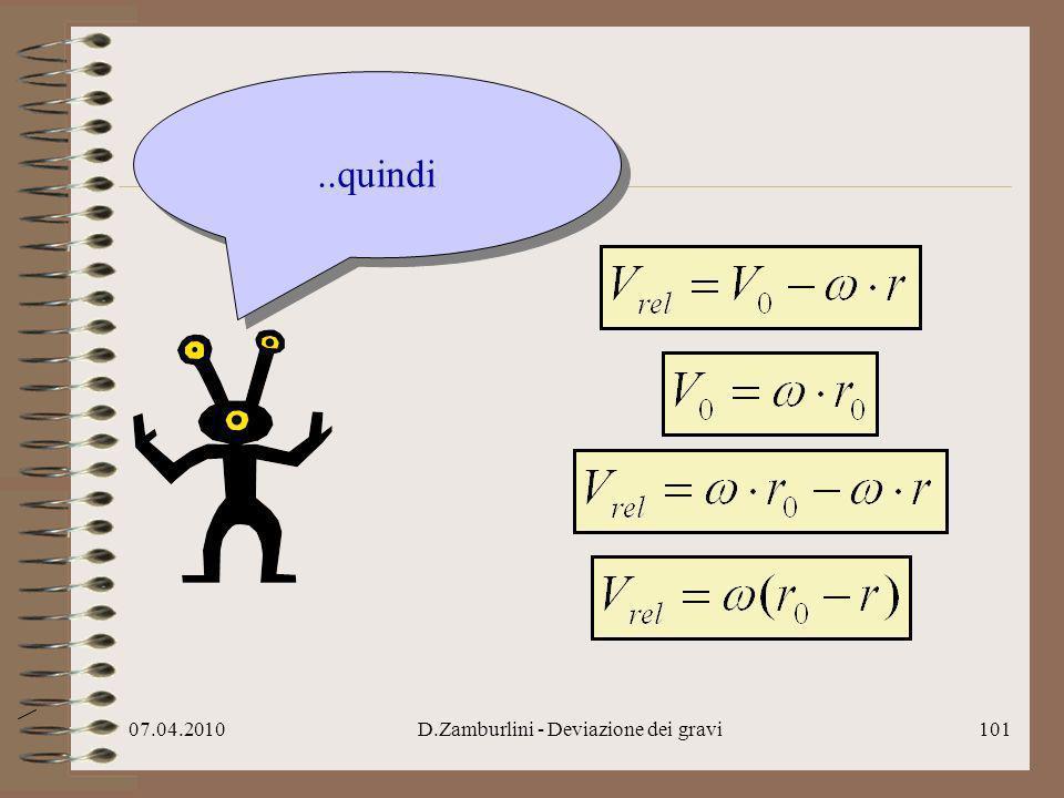 07.04.2010D.Zamburlini - Deviazione dei gravi102..in definitiva, col trucco di prima..