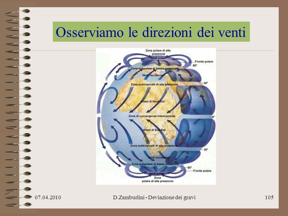 07.04.2010D.Zamburlini - Deviazione dei gravi106 Osserviamo le correnti marine