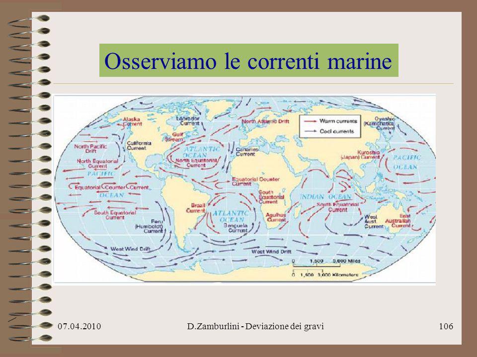 07.04.2010D.Zamburlini - Deviazione dei gravi107 Osserviamo le correnti marine