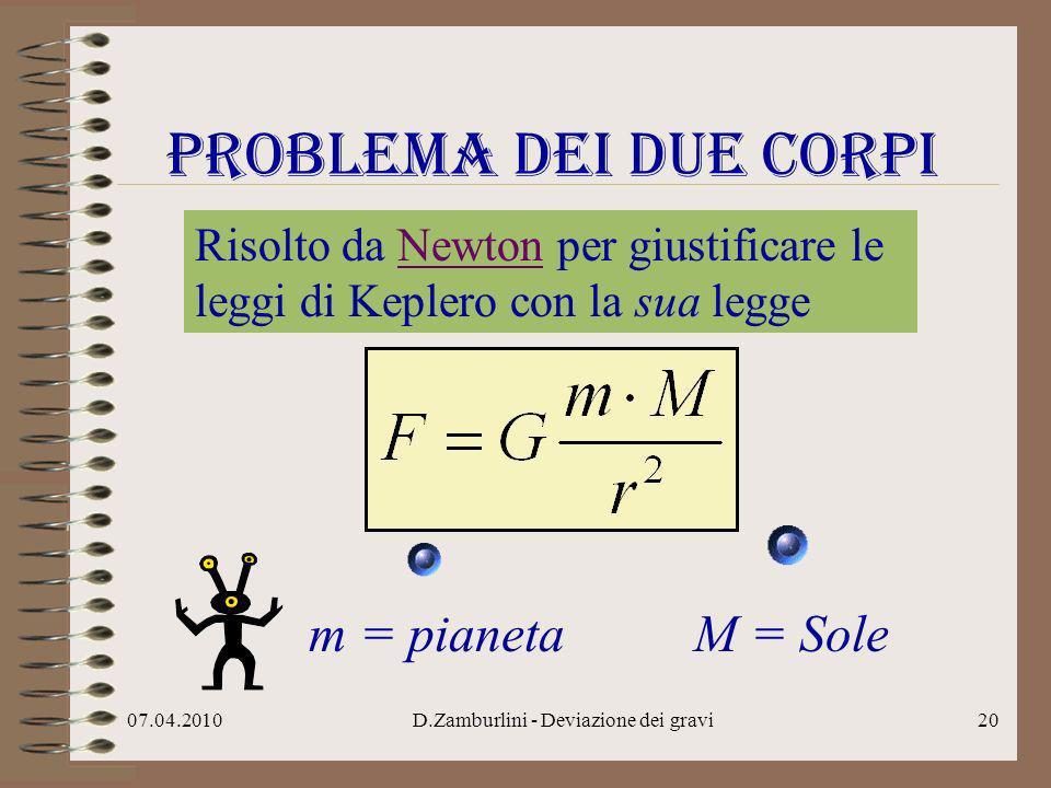 07.04.2010D.Zamburlini - Deviazione dei gravi21 Problema dei due corpi due conclusioni m M a) la traiettoria di m rispetto ad M è una conica b)si conserva il momento angolare di m rispetto al centro di M