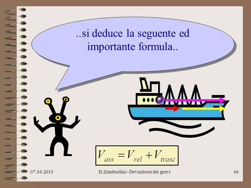 07.04.2010D.Zamburlini - Deviazione dei gravi47..ovviamente da questa formula si ricava anche…