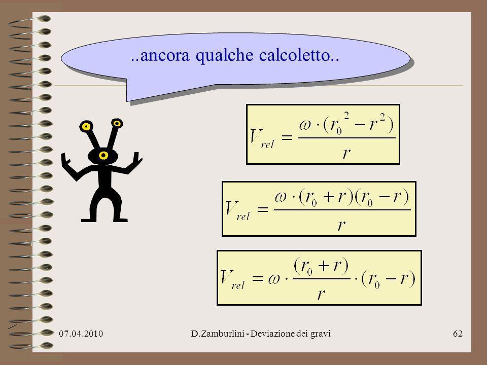 07.04.2010D.Zamburlini - Deviazione dei gravi63..continuo ad usare le regole dellalgebra..