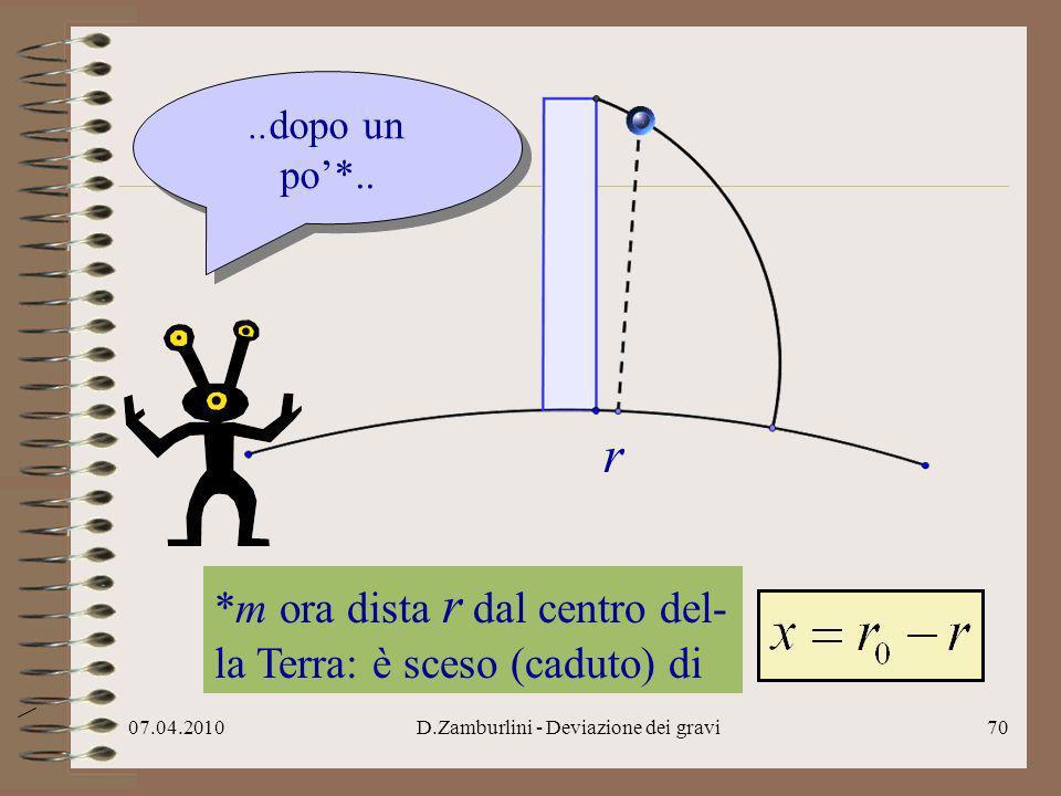 07.04.2010D.Zamburlini - Deviazione dei gravi71 *la velocità verso Est dà la deviazione di dalla verticale..riprendo la velocità di verso Est*..