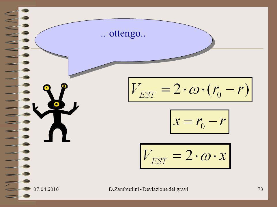 07.04.2010D.Zamburlini - Deviazione dei gravi74..per voi terrestri x è lo spazio percorso da m nella caduta.* x *non vi accorgete che tutto gira