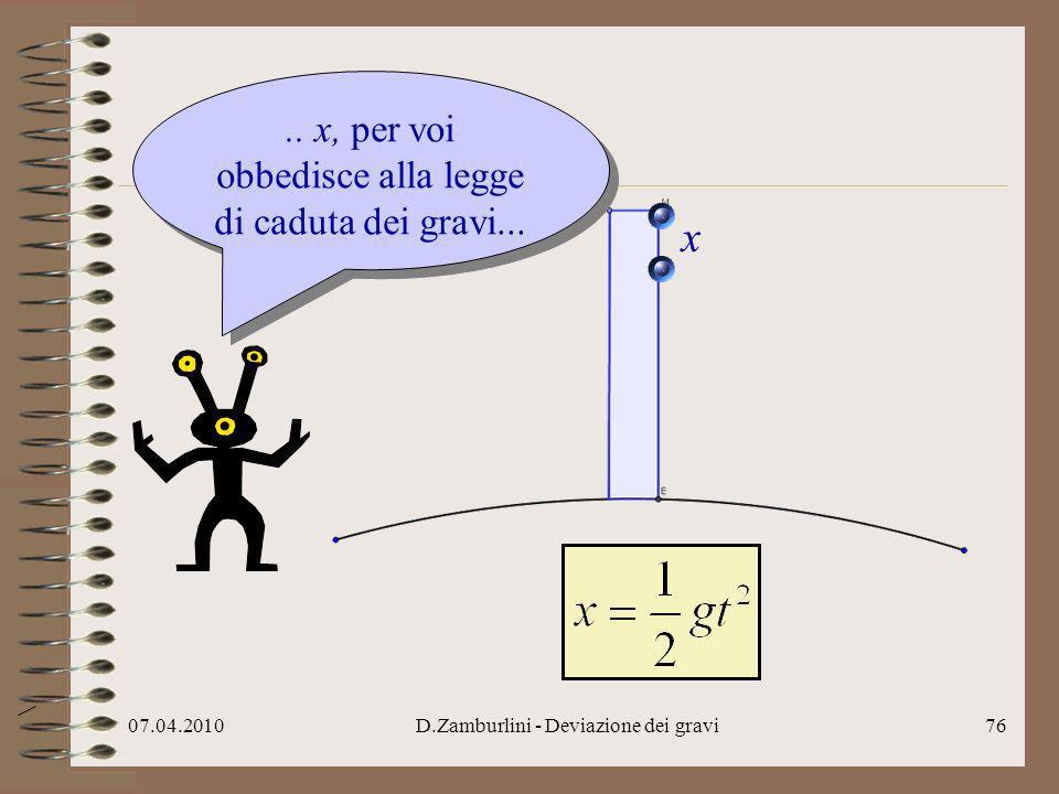 07.04.2010D.Zamburlini - Deviazione dei gravi77..e allora deduco per voi, se x=...