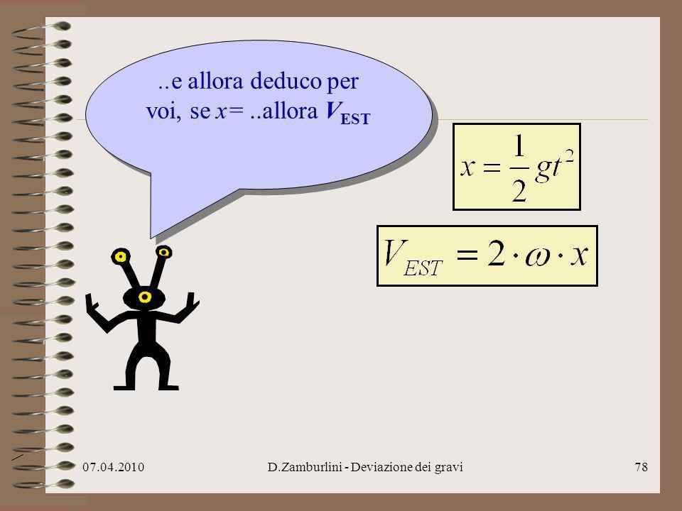 07.04.2010D.Zamburlini - Deviazione dei gravi79..e allora deduco per voi, se x=..allora V EST …sostituisco..e allora deduco per voi, se x=..allora V EST …sostituisco