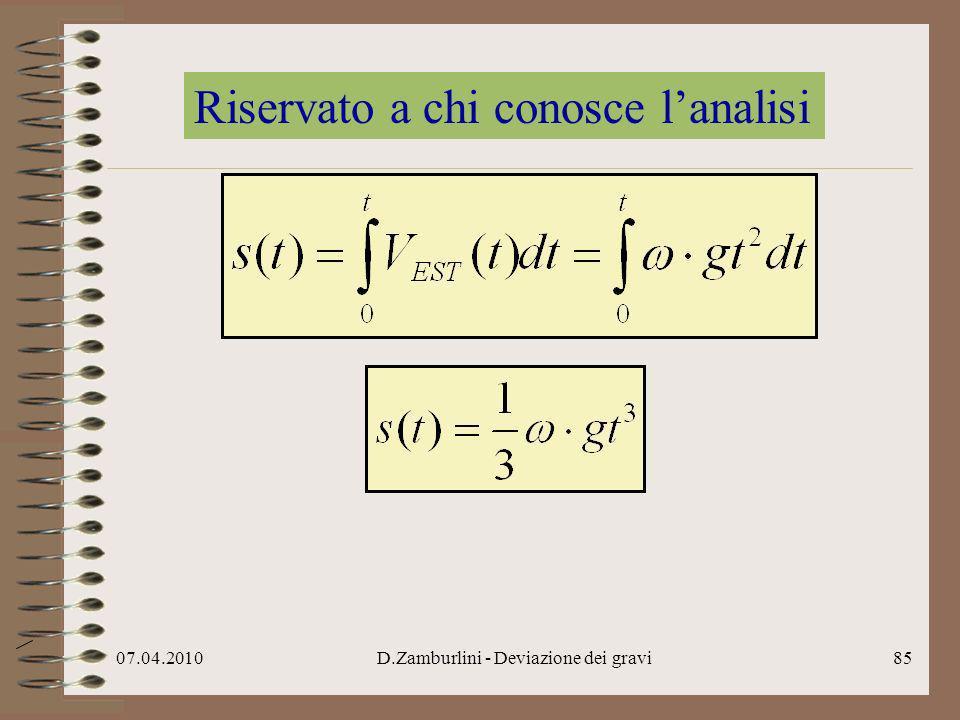 07.04.2010D.Zamburlini - Deviazione dei gravi86 Chiameremo questo spazio deviazione δ (verso Est)