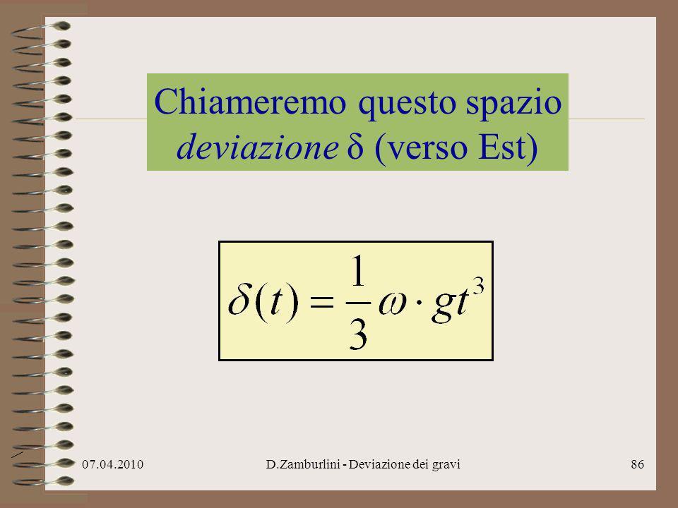 07.04.2010D.Zamburlini - Deviazione dei gravi87 Nella formula della deviazione δ cè la velocità angolare ω della Terra