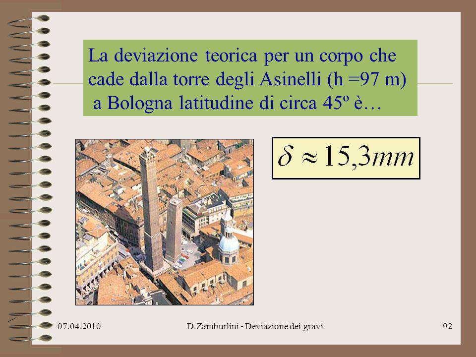 07.04.2010D.Zamburlini - Deviazione dei gravi93 La deviazione teorica per un corpo che cade dalla torre degli Asinelli (h =97 m) latitudine circa 45º è… Guglielmini nel 1791-92 trovò