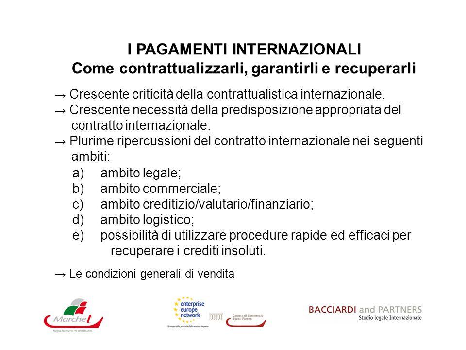 I PAGAMENTI INTERNAZIONALI Come contrattualizzarli, garantirli e recuperarli Crescente criticità della contrattualistica internazionale. Crescente nec