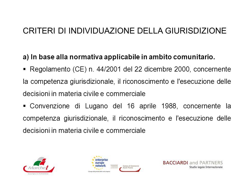 CRITERI DI INDIVIDUAZIONE DELLA GIURISDIZIONE a) In base alla normativa applicabile in ambito comunitario. Regolamento (CE) n. 44/2001 del 22 dicembre
