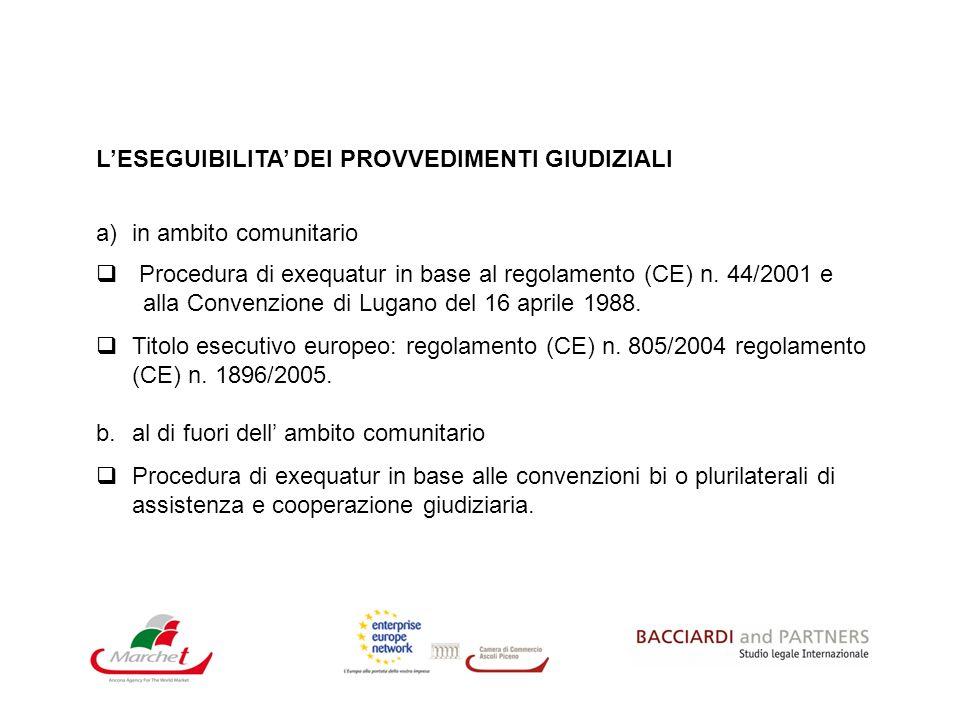 LESEGUIBILITA DEI PROVVEDIMENTI GIUDIZIALI a)in ambito comunitario Procedura di exequatur in base al regolamento (CE) n. 44/2001 e alla Convenzione di