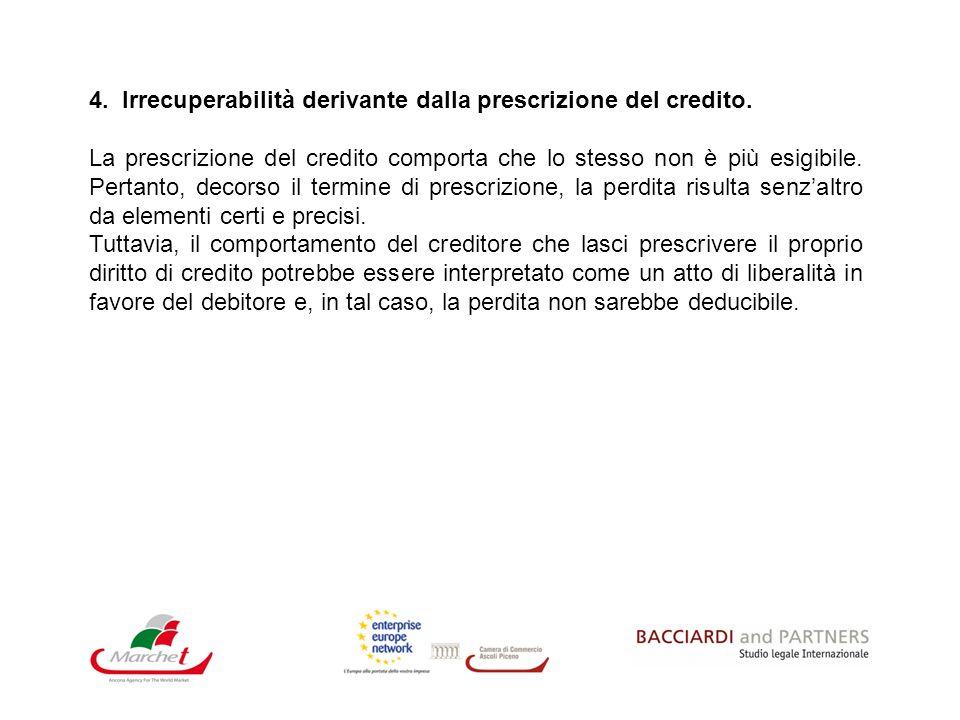4. Irrecuperabilità derivante dalla prescrizione del credito. La prescrizione del credito comporta che lo stesso non è più esigibile. Pertanto, decors