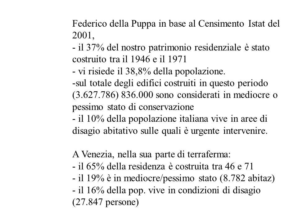 Federico della Puppa in base al Censimento Istat del 2001, - il 37% del nostro patrimonio residenziale è stato costruito tra il 1946 e il 1971 - vi ri