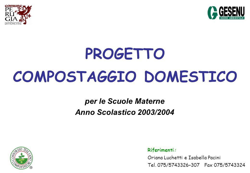 PROGETTO COMPOSTAGGIO DOMESTICO per le Scuole Materne Anno Scolastico 2003/2004 Riferimenti: Oriana Luchetti e Isabella Pacini Tel. 075/5743326–307 Fa