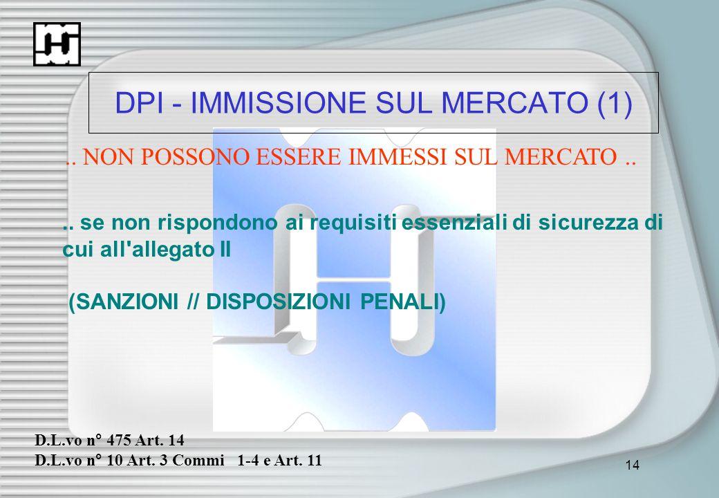 14 DPI - IMMISSIONE SUL MERCATO (1).. NON POSSONO ESSERE IMMESSI SUL MERCATO.... se non rispondono ai requisiti essenziali di sicurezza di cui all'all