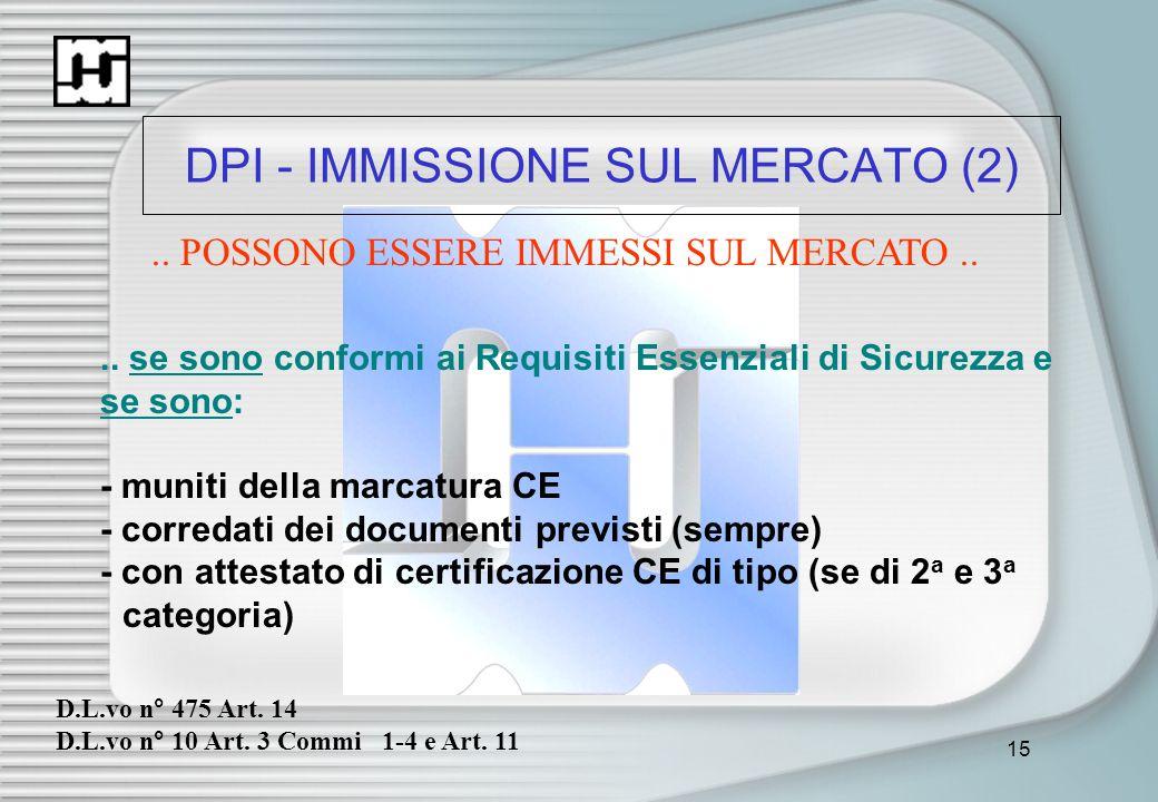 15 DPI - IMMISSIONE SUL MERCATO (2).. POSSONO ESSERE IMMESSI SUL MERCATO.... se sono conformi ai Requisiti Essenziali di Sicurezza e se sono: - muniti