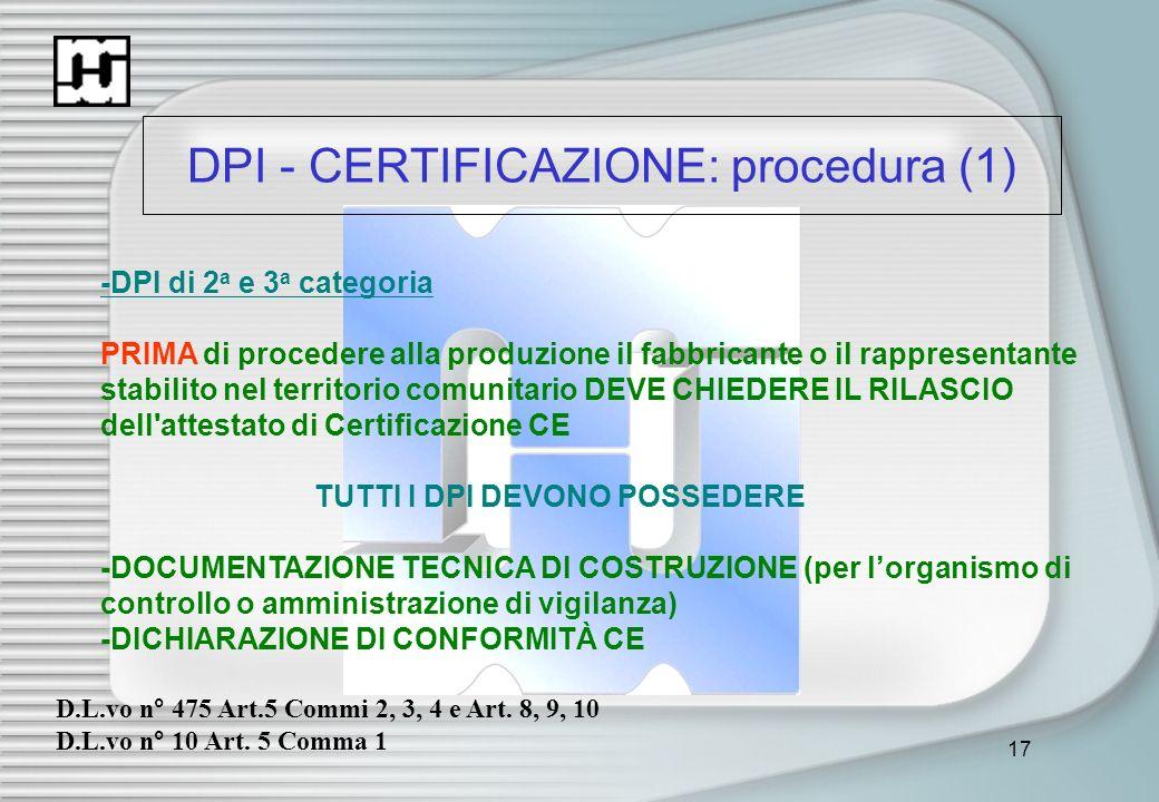 17 DPI - CERTIFICAZIONE: procedura (1) -DPI di 2 a e 3 a categoria PRIMA di procedere alla produzione il fabbricante o il rappresentante stabilito nel