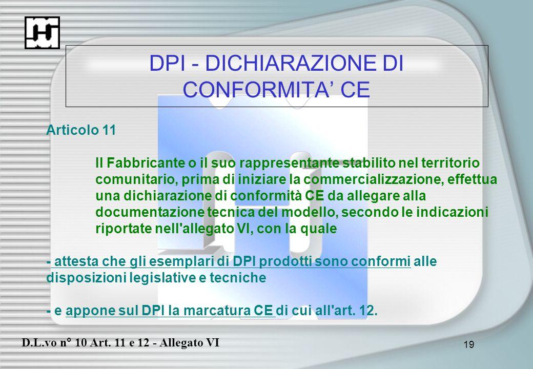 19 DPI - DICHIARAZIONE DI CONFORMITA CE Articolo 11 Il Fabbricante o il suo rappresentante stabilito nel territorio comunitario, prima di iniziare la