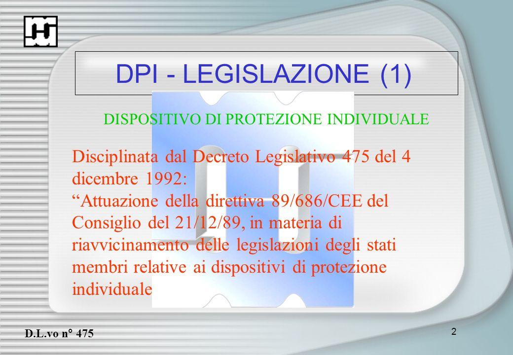 2 DPI - LEGISLAZIONE (1) D.L.vo n° 475 Disciplinata dal Decreto Legislativo 475 del 4 dicembre 1992: Attuazione della direttiva 89/686/CEE del Consigl