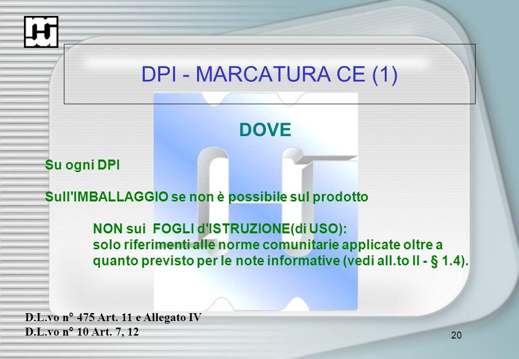 20 DPI - MARCATURA CE (1) DOVE Su ogni DPI Sull'IMBALLAGGIO se non è possibile sul prodotto NON sui FOGLI d'ISTRUZIONE(di USO): solo riferimenti alle