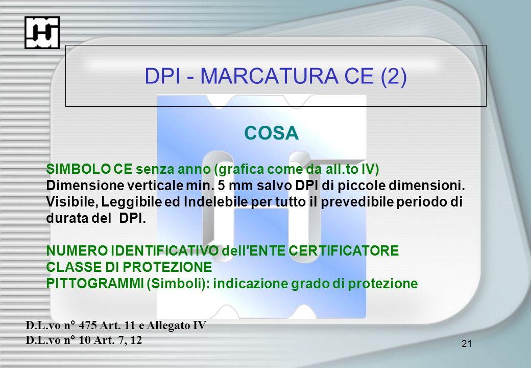 21 DPI - MARCATURA CE (2) COSA SIMBOLO CE senza anno (grafica come da all.to IV) Dimensione verticale min. 5 mm salvo DPI di piccole dimensioni. Visib