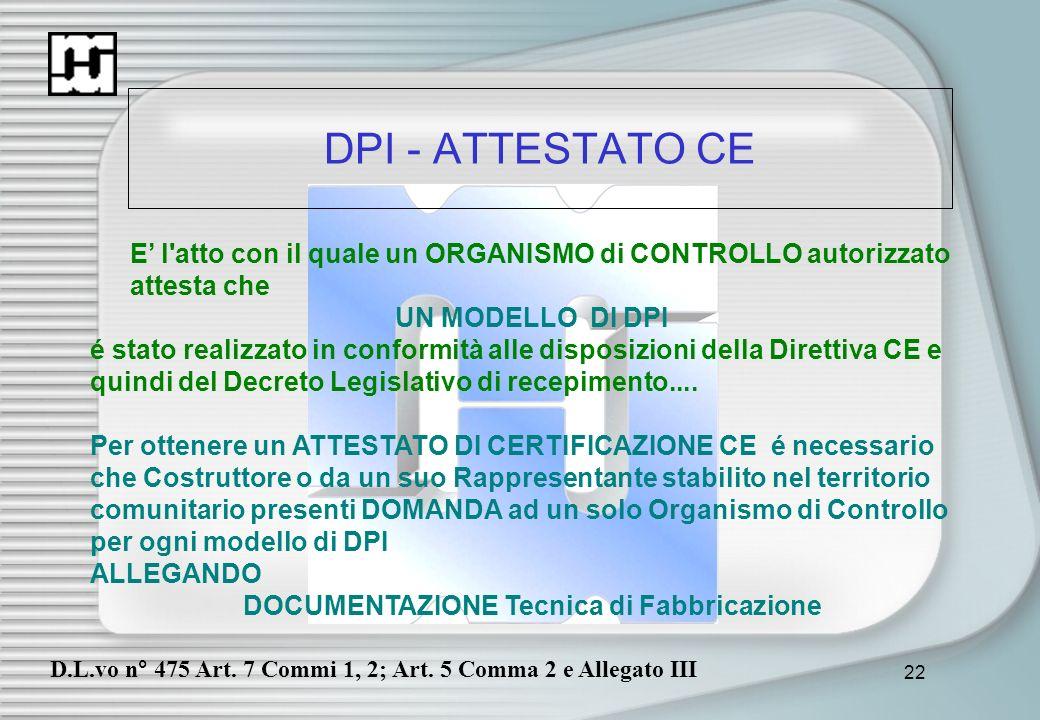 22 DPI - ATTESTATO CE E l'atto con il quale un ORGANISMO di CONTROLLO autorizzato attesta che UN MODELLO DI DPI é stato realizzato in conformità alle