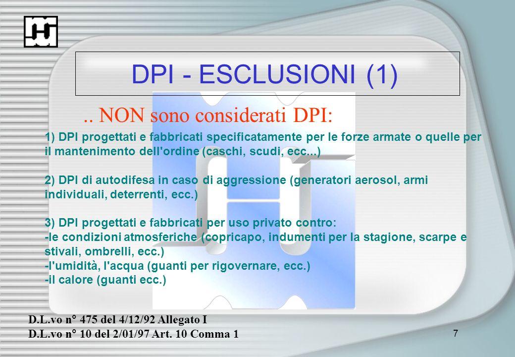 7 DPI - ESCLUSIONI (1) D.L.vo n° 475 del 4/12/92 Allegato I D.L.vo n° 10 del 2/01/97 Art. 10 Comma 1.. NON sono considerati DPI: 1) DPI progettati e f