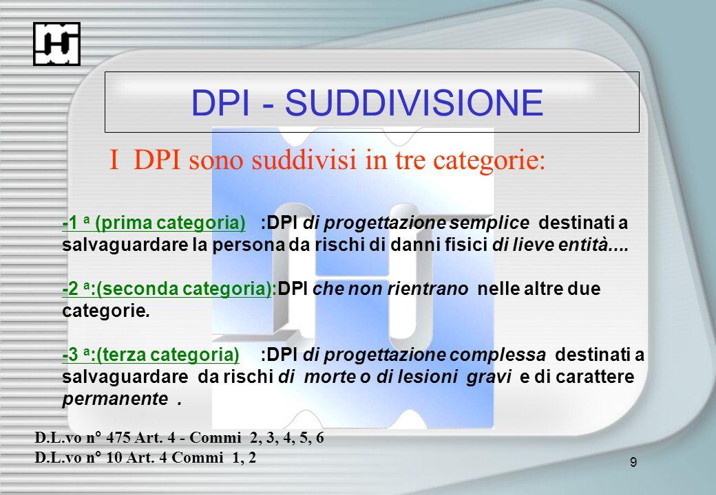 9 DPI - SUDDIVISIONE I DPI sono suddivisi in tre categorie: -1 a (prima categoria):DPI di progettazione semplice destinati a salvaguardare la persona