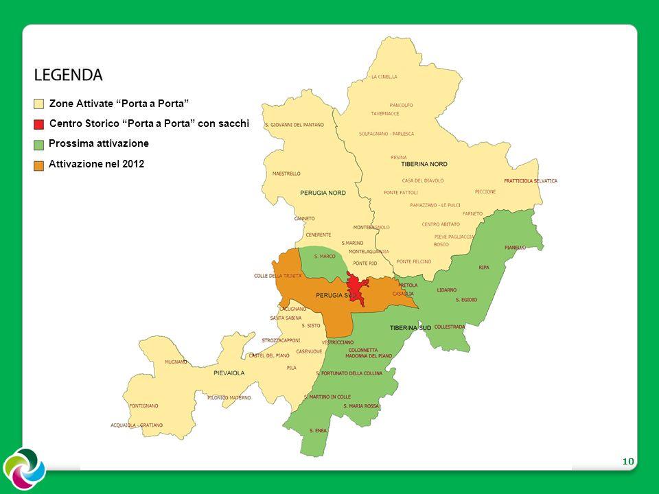 10 Zone Attivate Porta a Porta Centro Storico Porta a Porta con sacchi Prossima attivazione Attivazione nel 2012