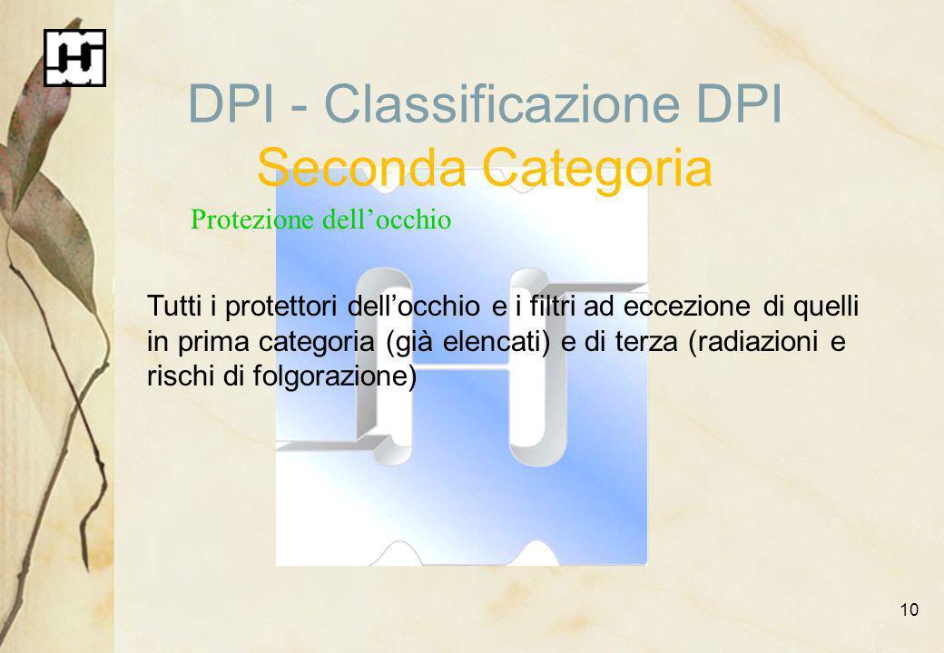 10 DPI - Classificazione DPI Seconda Categoria Protezione dellocchio Tutti i protettori dellocchio e i filtri ad eccezione di quelli in prima categori