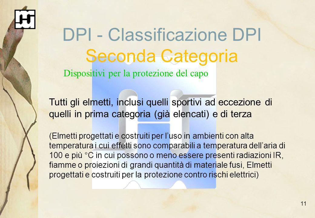 11 DPI - Classificazione DPI Seconda Categoria Dispositivi per la protezione del capo Tutti gli elmetti, inclusi quelli sportivi ad eccezione di quell