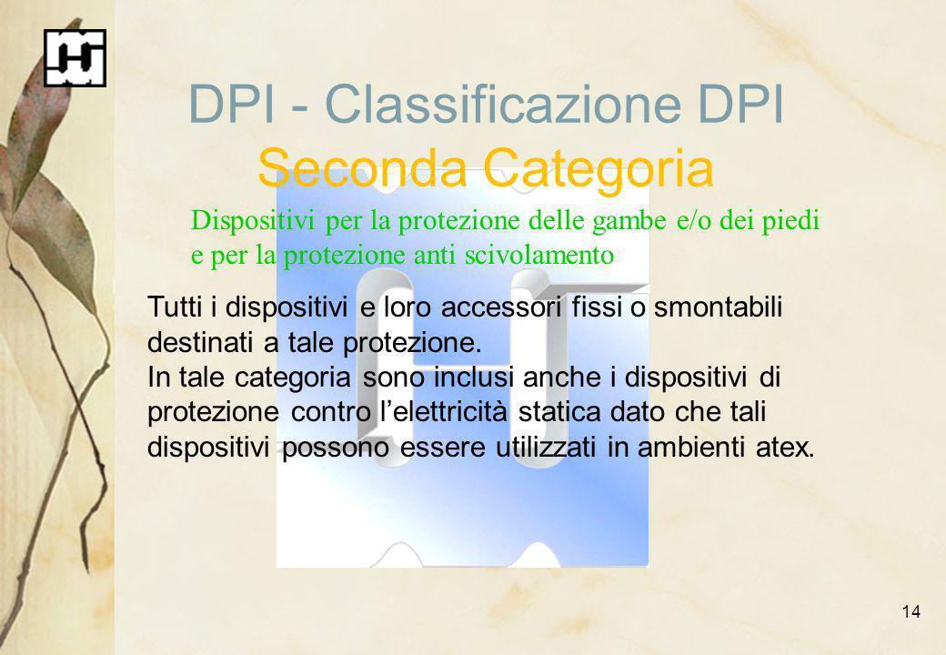 14 DPI - Classificazione DPI Seconda Categoria Dispositivi per la protezione delle gambe e/o dei piedi e per la protezione anti scivolamento Tutti i d