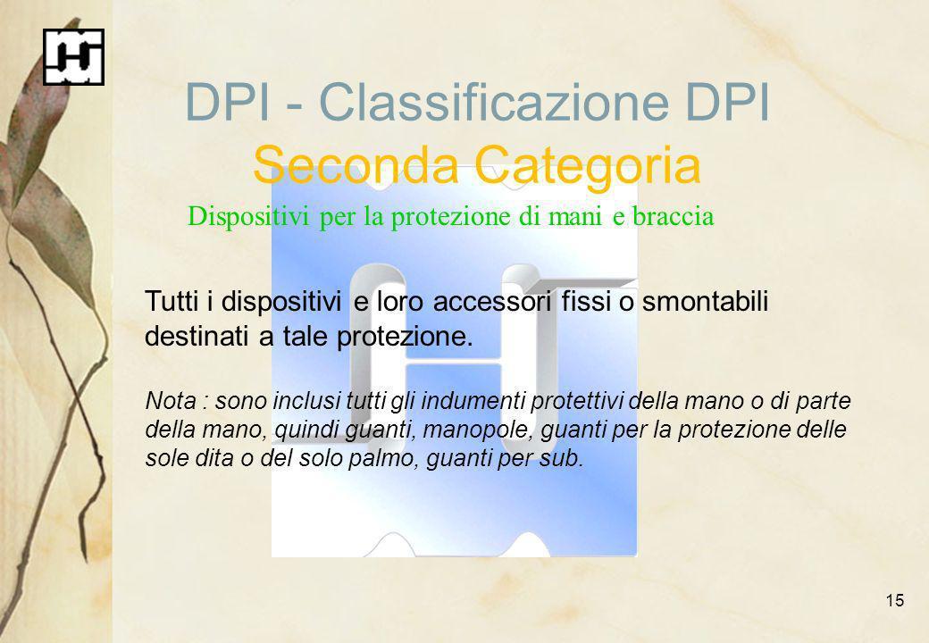 15 DPI - Classificazione DPI Seconda Categoria Dispositivi per la protezione di mani e braccia Tutti i dispositivi e loro accessori fissi o smontabili