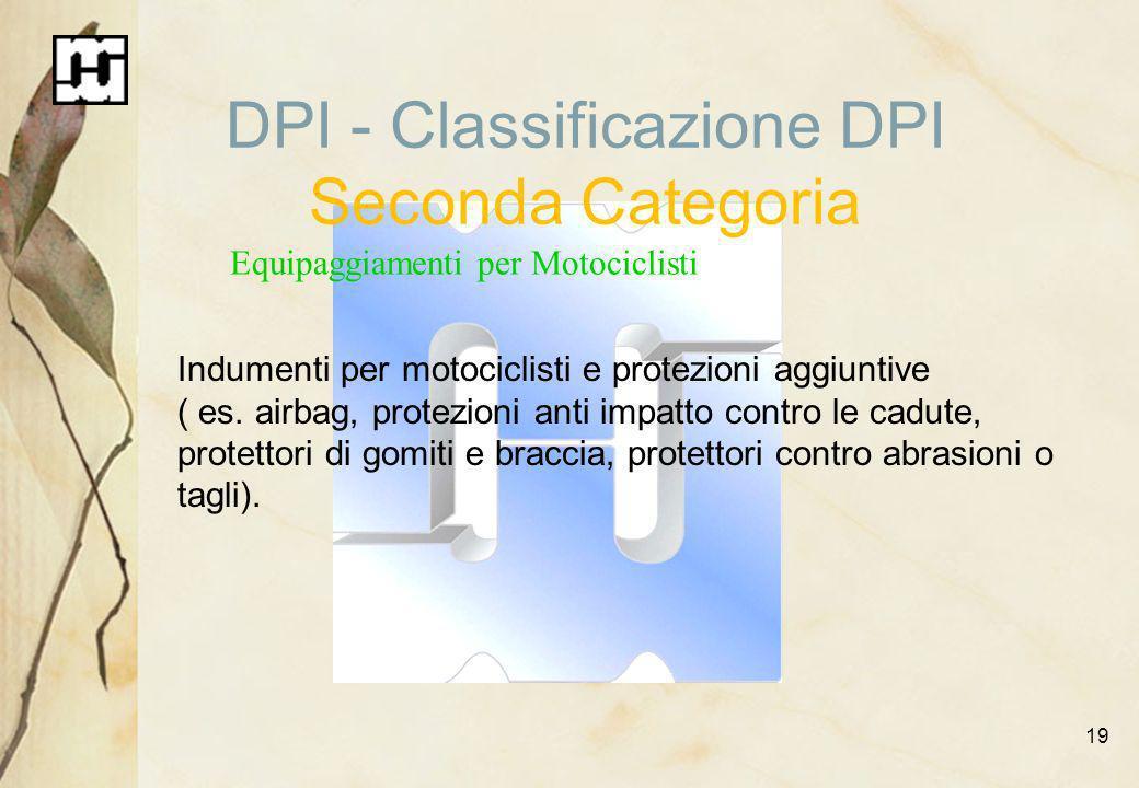 19 DPI - Classificazione DPI Seconda Categoria Equipaggiamenti per Motociclisti Indumenti per motociclisti e protezioni aggiuntive ( es. airbag, prote