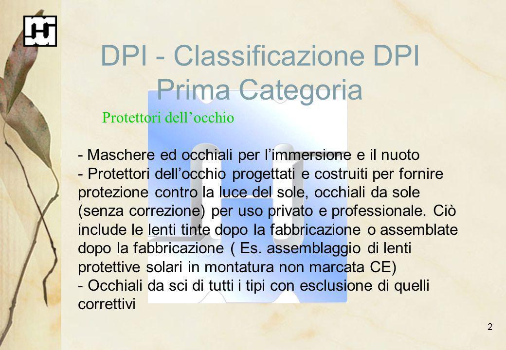 2 DPI - Classificazione DPI Prima Categoria Protettori dellocchio - Maschere ed occhiali per limmersione e il nuoto - Protettori dellocchio progettati