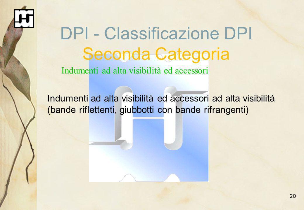 20 DPI - Classificazione DPI Seconda Categoria Indumenti ad alta visibilità ed accessori Indumenti ad alta visibilità ed accessori ad alta visibilità