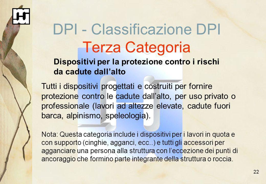22 DPI - Classificazione DPI Terza Categoria Dispositivi per la protezione contro i rischi da cadute dallalto Tutti i dispositivi progettati e costrui