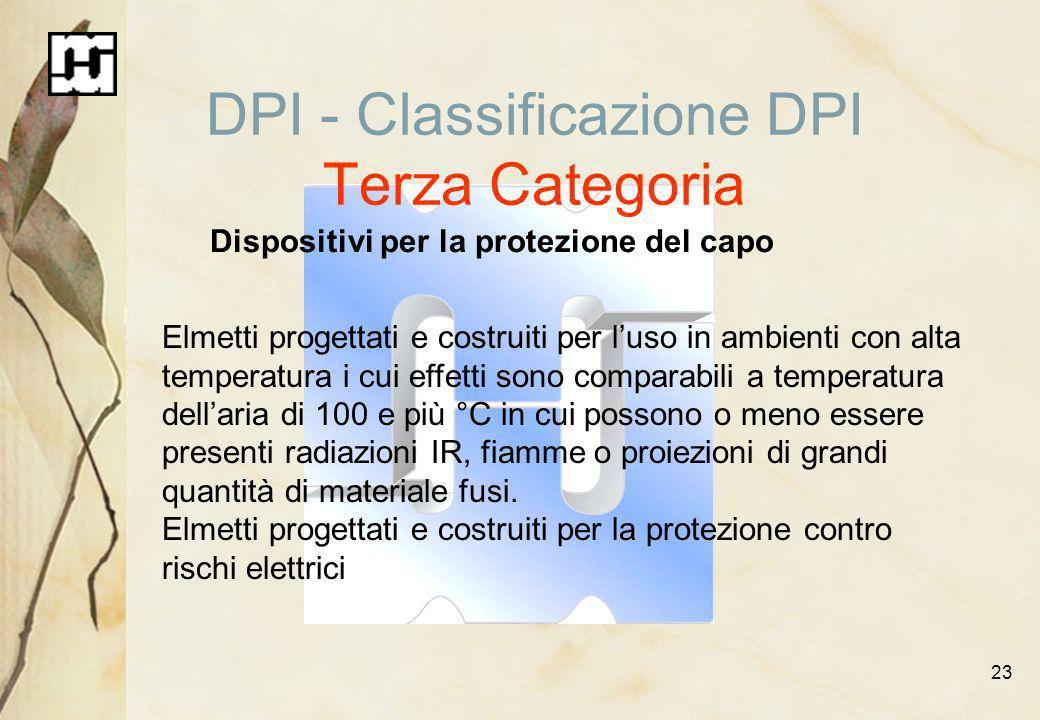 23 DPI - Classificazione DPI Terza Categoria Dispositivi per la protezione del capo Elmetti progettati e costruiti per luso in ambienti con alta tempe