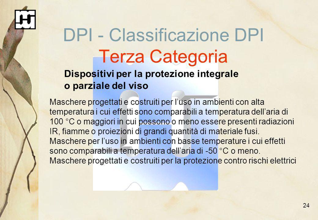 24 DPI - Classificazione DPI Terza Categoria Dispositivi per la protezione integrale o parziale del viso Maschere progettati e costruiti per luso in a