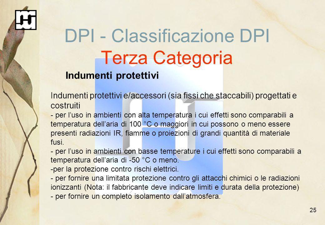 25 DPI - Classificazione DPI Terza Categoria Indumenti protettivi Indumenti protettivi e/accessori (sia fissi che staccabili) progettati e costruiti -