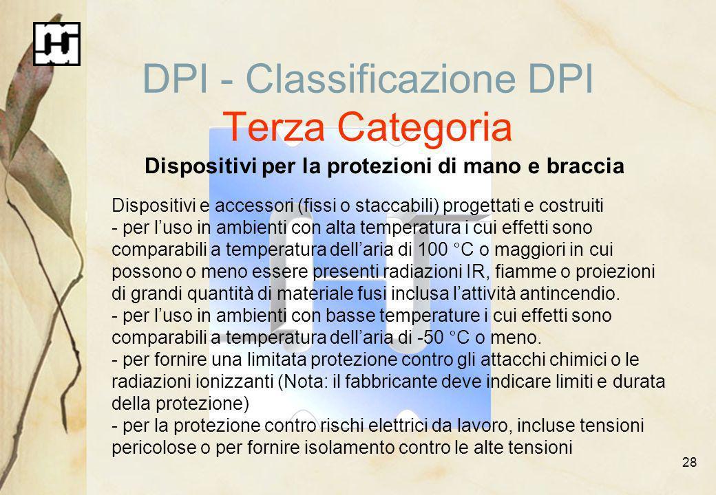 28 DPI - Classificazione DPI Terza Categoria Dispositivi per la protezioni di mano e braccia Dispositivi e accessori (fissi o staccabili) progettati e