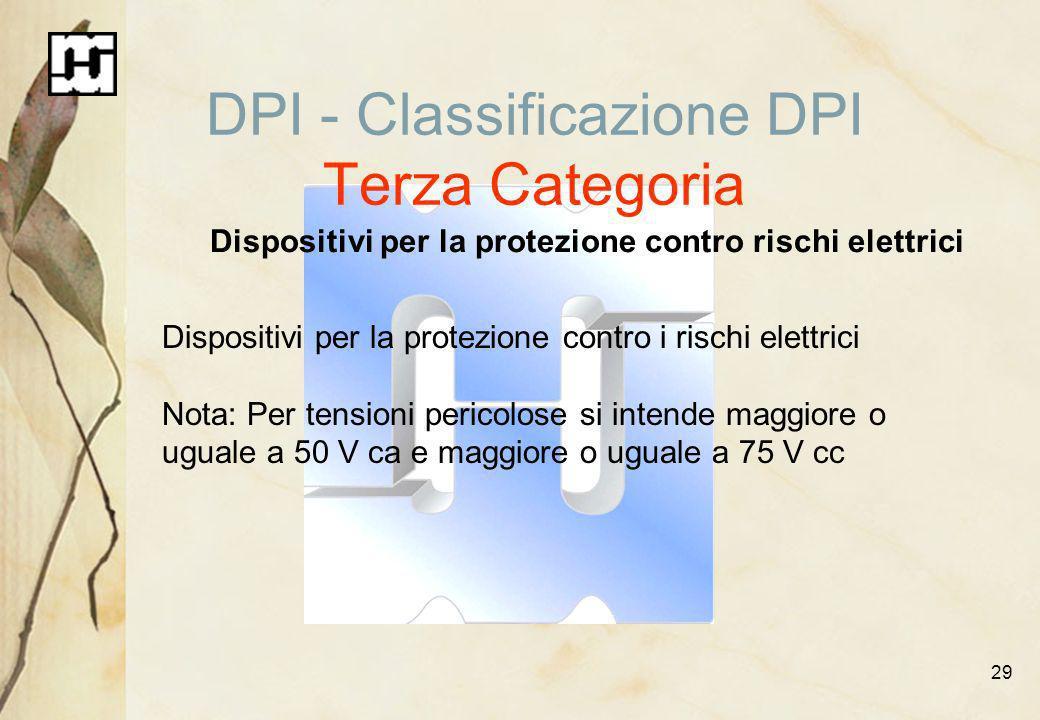 29 DPI - Classificazione DPI Terza Categoria Dispositivi per la protezione contro rischi elettrici Dispositivi per la protezione contro i rischi elett