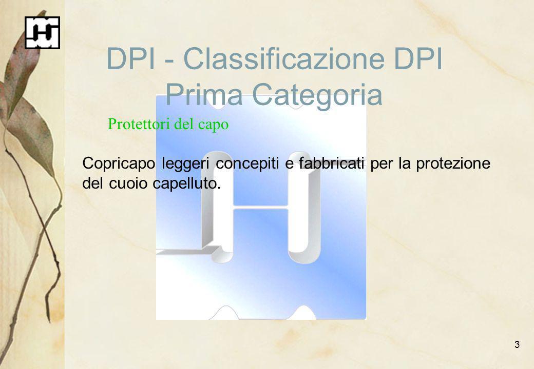 3 DPI - Classificazione DPI Prima Categoria Protettori del capo Copricapo leggeri concepiti e fabbricati per la protezione del cuoio capelluto.