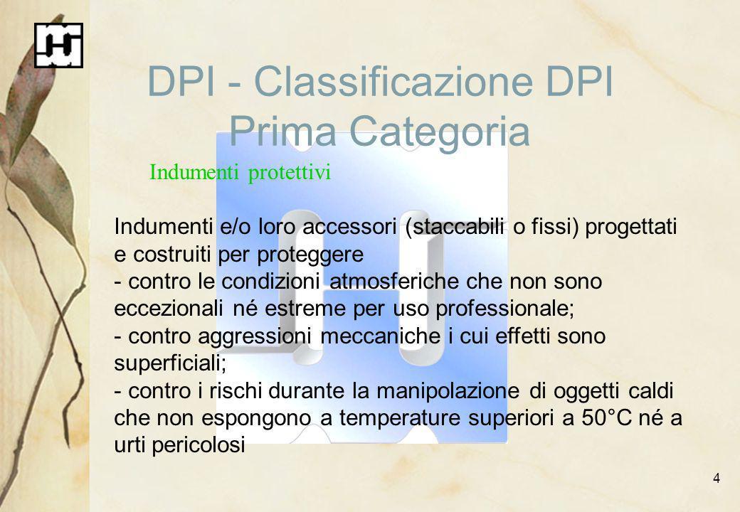 4 DPI - Classificazione DPI Prima Categoria Indumenti protettivi Indumenti e/o loro accessori (staccabili o fissi) progettati e costruiti per protegge