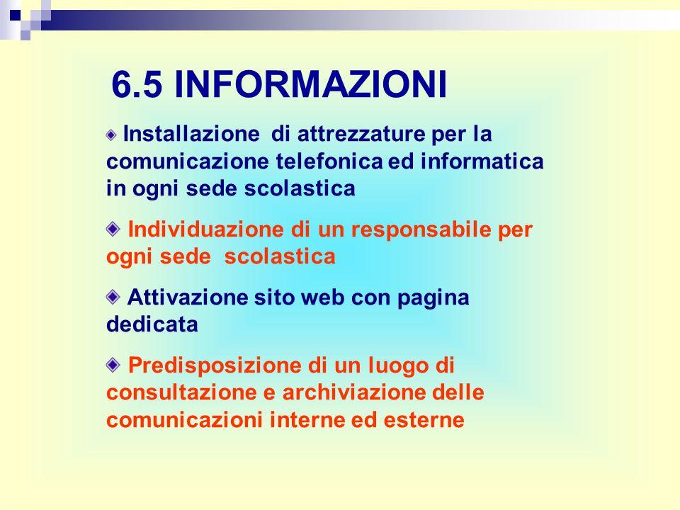 6.5 INFORMAZIONI Installazione di attrezzature per la comunicazione telefonica ed informatica in ogni sede scolastica Individuazione di un responsabil