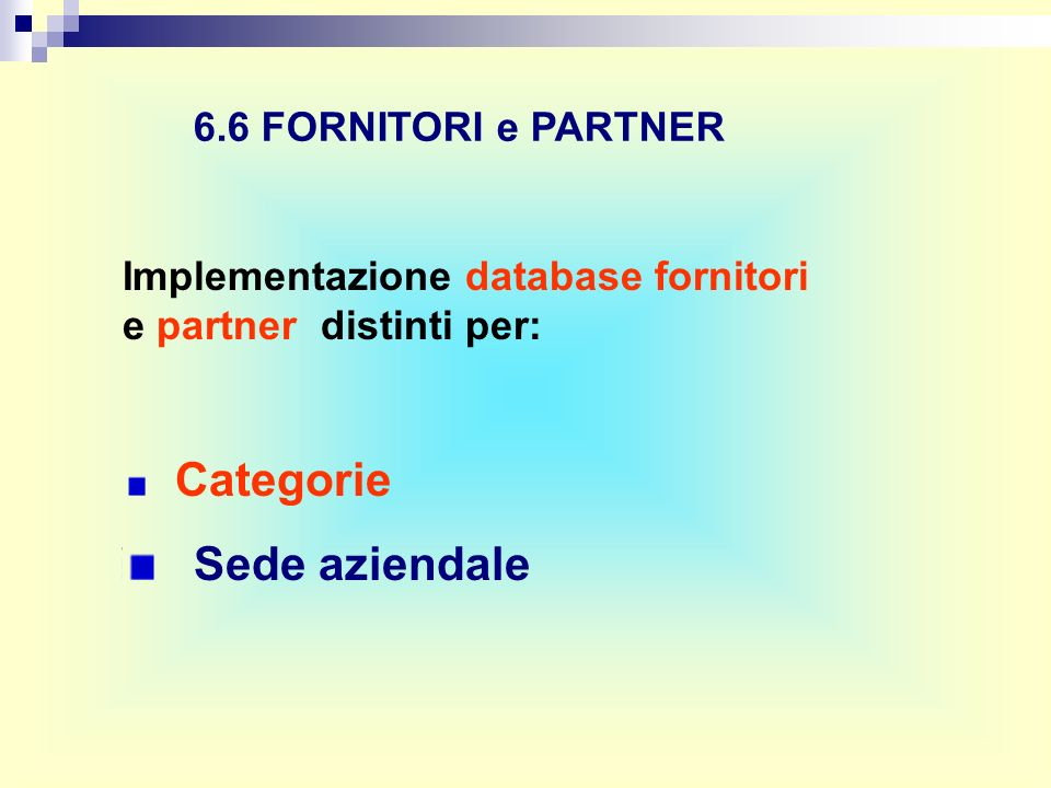 6.6 FORNITORI e PARTNER Implementazione database fornitori e partner distinti per: Categorie Sede aziendale